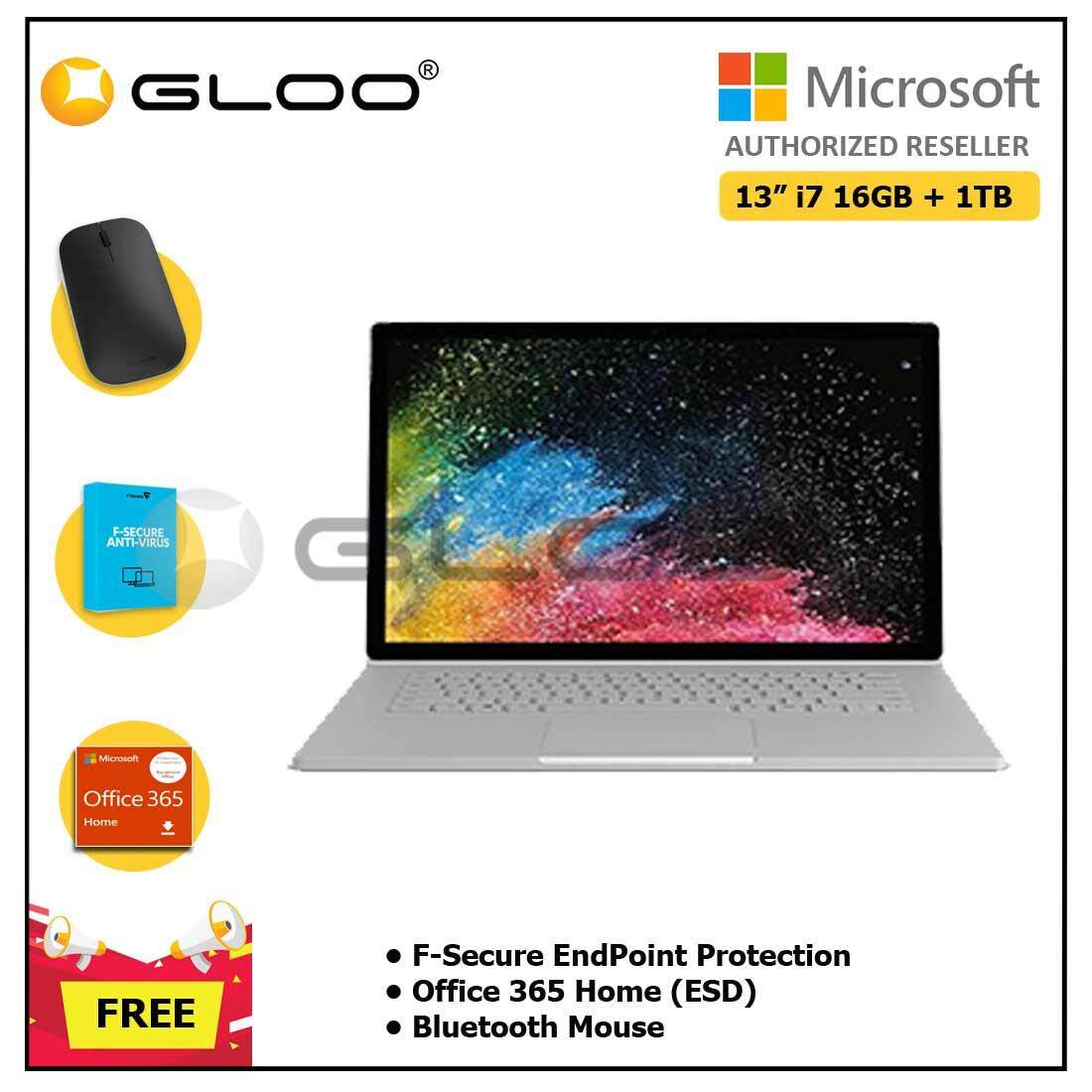 """Microsoft Surface Book 2 13"""" Core i7/16GB RAM - 1TB + F-Secure EndPoint Protection + Office 365 Home ESD + Bluetooth Mouse"""