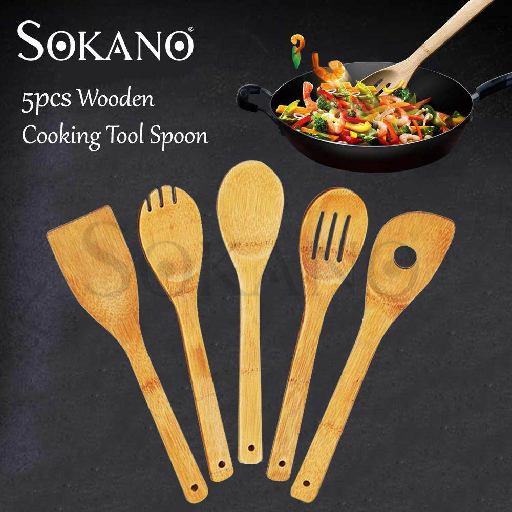(RAYA 2019) SOKANO 5 Pieces KU4564 Bamboo Kitchen Utensil Wooden Cooking Tool Spoon Spatula Mixing Set Perkakas Dapur