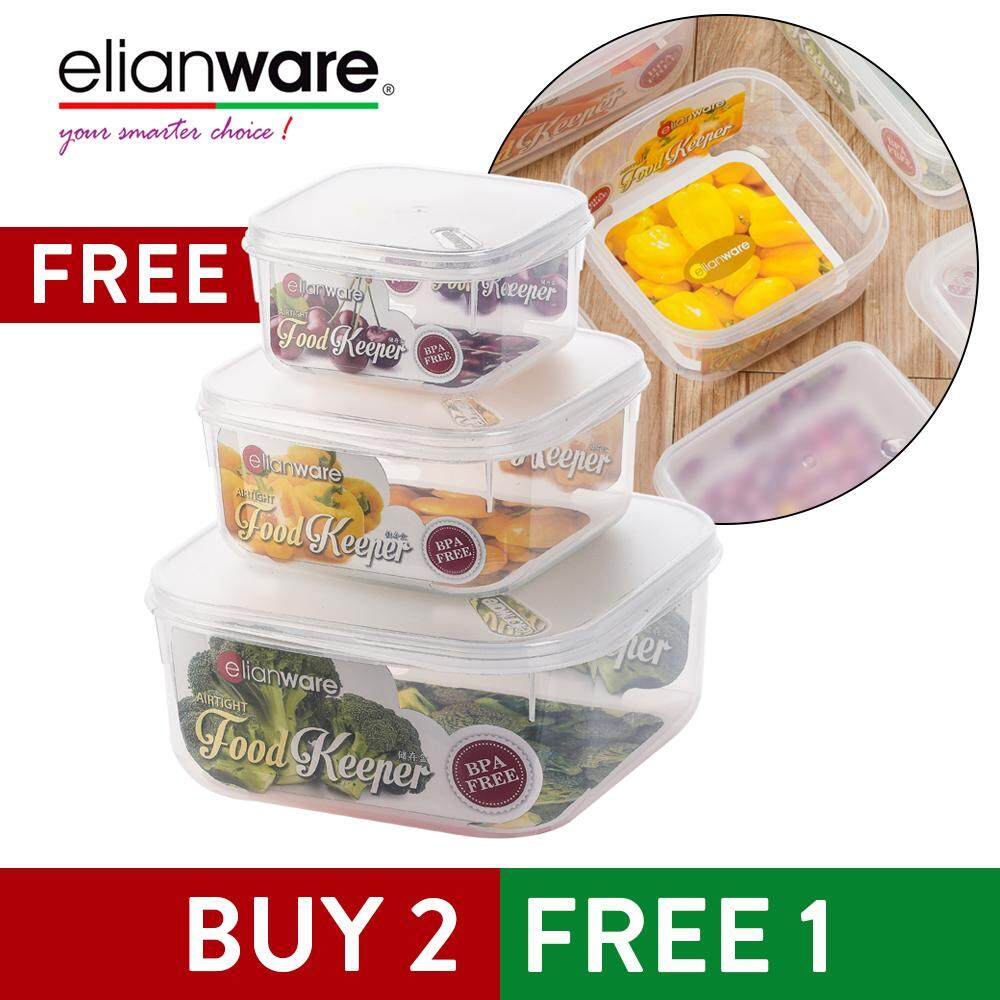Elianware Transparent Square [BPA Free] Airtight Food Storage Container [BUY 2 FREE 1]