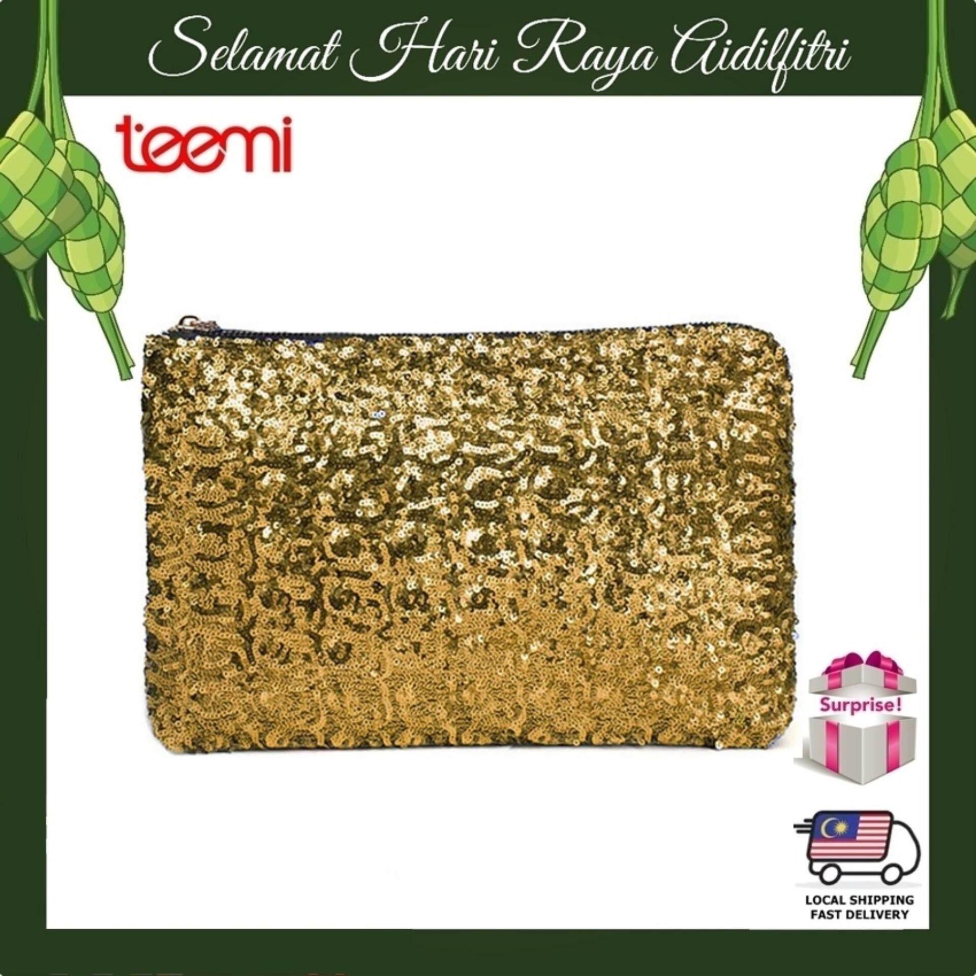 TEEMI Sequins Metallic Glitter Clutch Evening Dinner Purse Women HandBag Dazzling Sparkling Party Bag - Gold