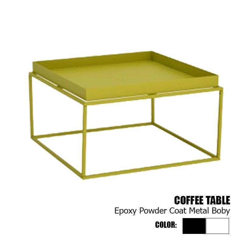 Designer Series Coffee Table Epoxy Powder Coat Metal Body - Black/White