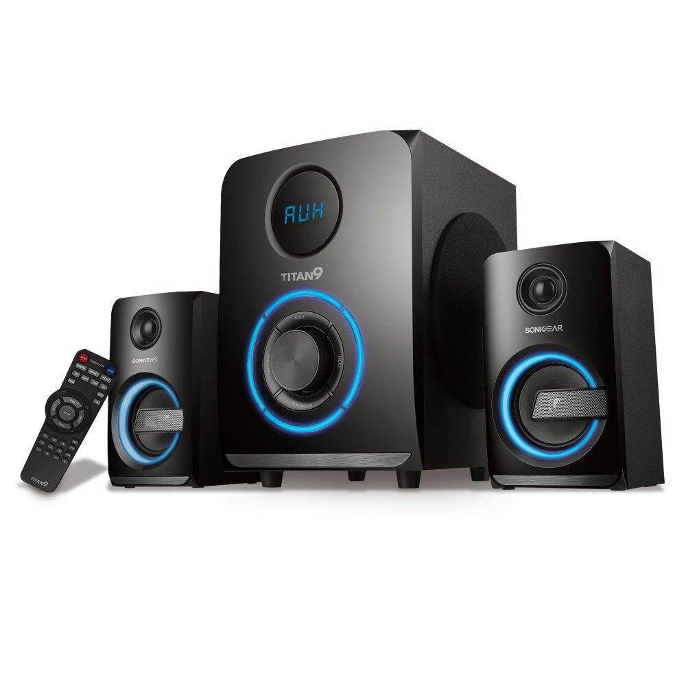Sonic Gear Titan 9 BTMI 2.1 Speaker System with Subwoofer and Remote Control Bass LED Pulsing Color Effect Support AUX Bluetooth USB FM Radio SD Card