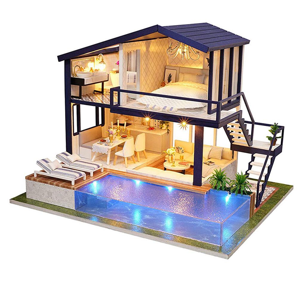 Hình ảnh Microgood DIY Thu Nhỏ Đồ Nội Thất Nhà Búp Bê Bể Bơi Xây Dựng Biệt Thự Mô Hình Đồ Chơi Trẻ Em