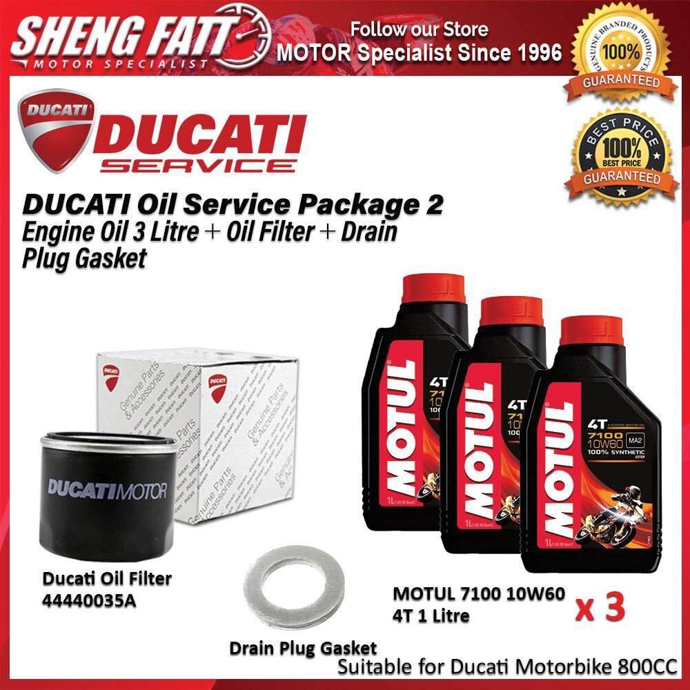 DUCATI Oil Service Package for 800 CC Above (MOTUL Engine Oil 3 Litre + Oil Filter + Drain Plug Gasket)