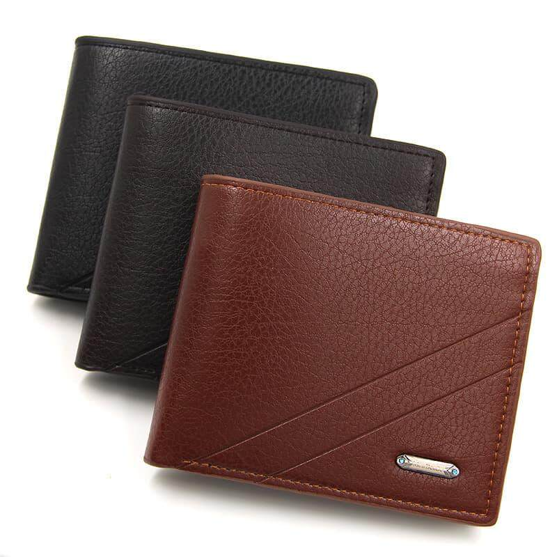 [M\'sia Warehouse Direct] 2019 Korean Series Men\'s Fashion Wallet Bi-Fold Fengshui Wallet Europe Designer Perfect Gift (Come With Box) Clutch Card Coins Cash Slot With Zip Portable Hand Carry Bag Luxury Top Material Genuine Leather Halal Dompet Kulit