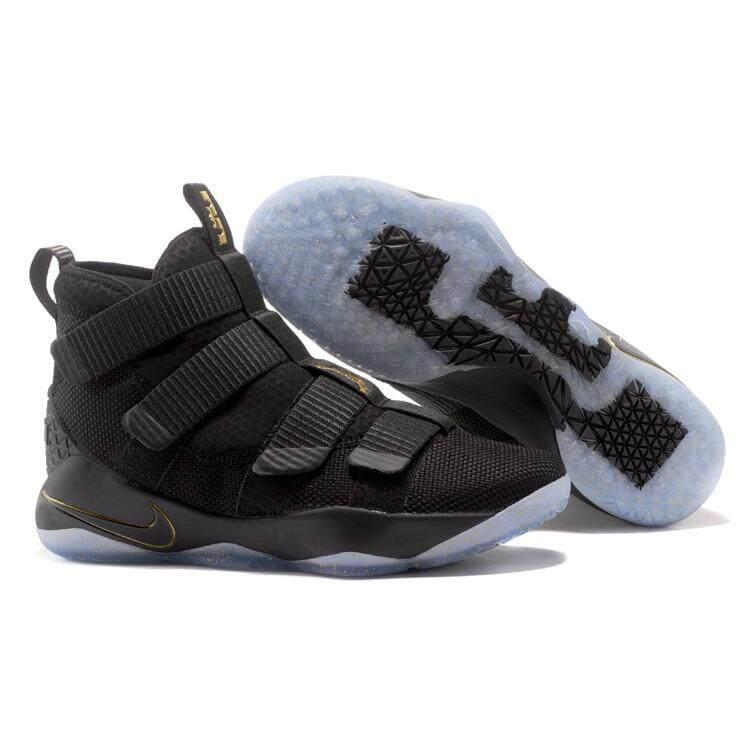 ยี่ห้อไหนดี  ลำพูน Mens Nike เลอบรอนเจมส์ทหาร 11 รองเท้าบาสเก็ตบอล LBJ รองเท้าผ้าใบสีดำ