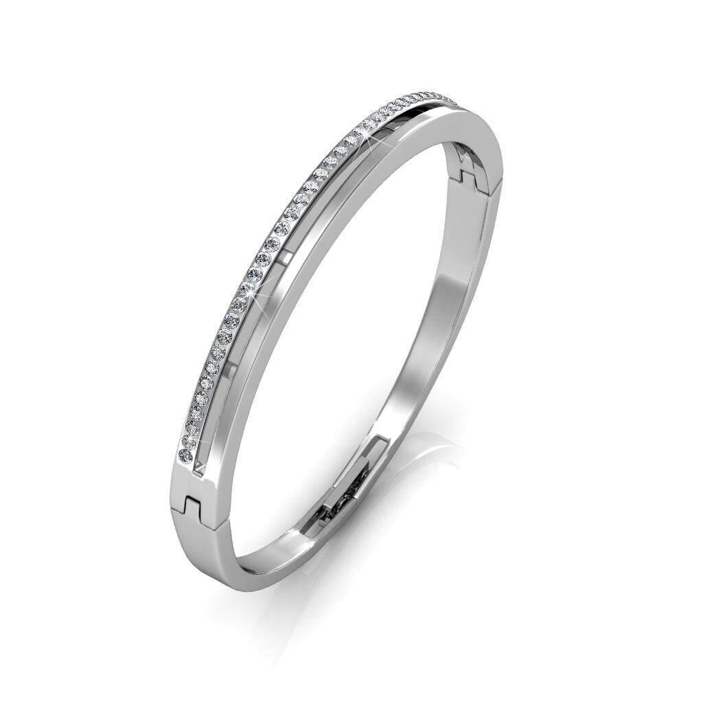 Her Jewellery Elegant Bangle (White / Rose Gold) embellished with Crystals from Swarovski