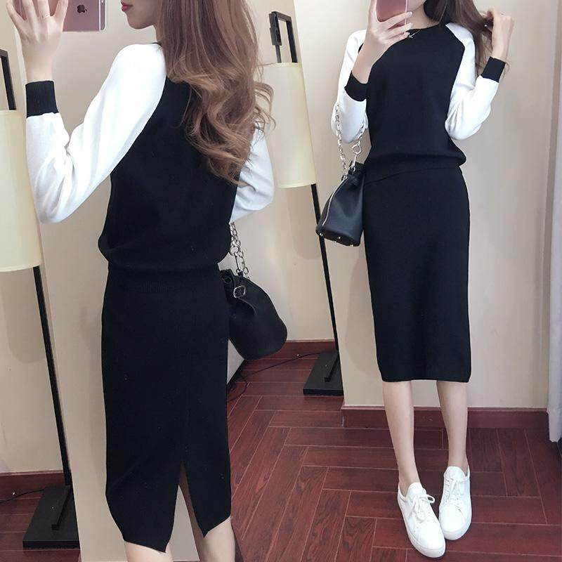[[DDWU8] Hàn Quốc Nữ Thu Đông Triều Thời Trang Tính Khí Nữ Váy Thời Trang Mùa Xuân và Mùa Thu Đông 2 bộ Phù Hợp Với