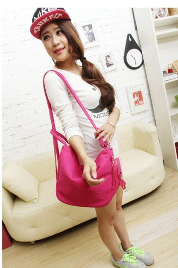 4-Way Colorful Canvas Bag (Rose Pink)