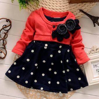 Harga 0-2 Years Cotton Baby Girl Christmas Dresses Kids Children's LovelyPrincess Two Tones Splicing Polka Dots Dress (Red)