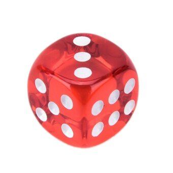 Mecola 10pcs Square Transparent Dice Acrylic Craps Casino Bar Toy Game 14mm red