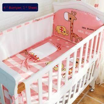110*60CM Baby Crib Bedding Set Kids Bedding Set Newborn Baby BedSet Crib Bumper Baby Cot Set Baby Bed Bumper Deer Pink