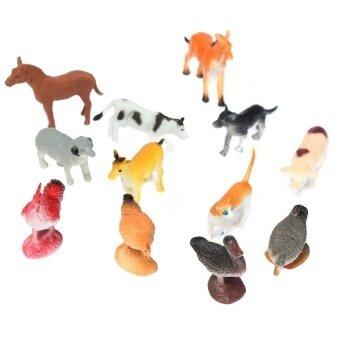 12 Pcs Plastik Farm Yard Gambar Babi Sapi Kuda Anjing Animal Model Kidsplayset Mainan Baru-Internasional