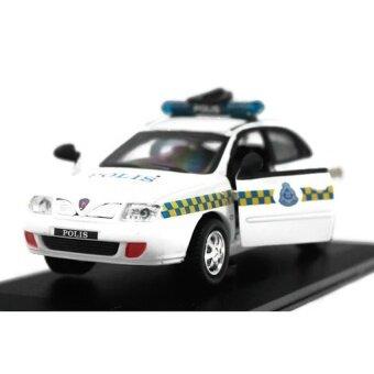 Skala 1:32 Proton Waja Polis Polisi Diraja Malaysia PDRM 209 Diecast Mobil (Putih)-Internasional