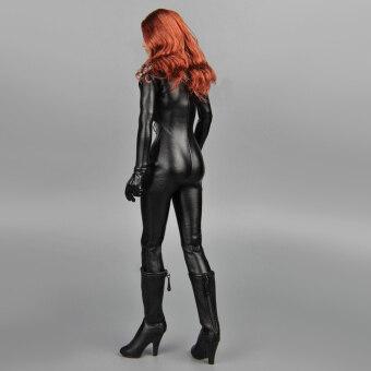 1/6 Scale Female Clothes Black Faux Leather Jumpsuit - 2