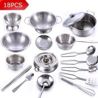 Harga 18Pcs Stainless Steel Children Kitchen Toys Miniature Cooking SetSimulation Tableware Toy Pretend Play Cook Toy for Kids Gift