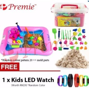 Harga 2KG DIY Molds Kinetic Magic Sand With Random Color Molds Parts and Sand Table (Brown Sand) FREE 1 x Kids LED Watch