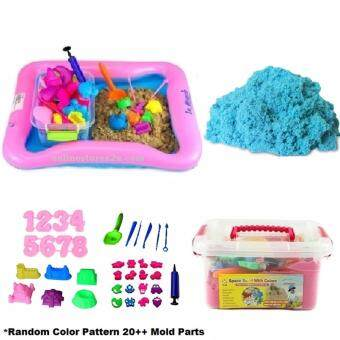 2KG Non Toxic DIY Kinetic Magic Play Sand Box Set Arts & Crafts Toys for Kids (Blue Color Sand)