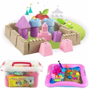 2KG Non Toxic DIY Kinetic Magic Play Sand Box Set Arts & Crafts Toys for Kids (Brown Color Sand)