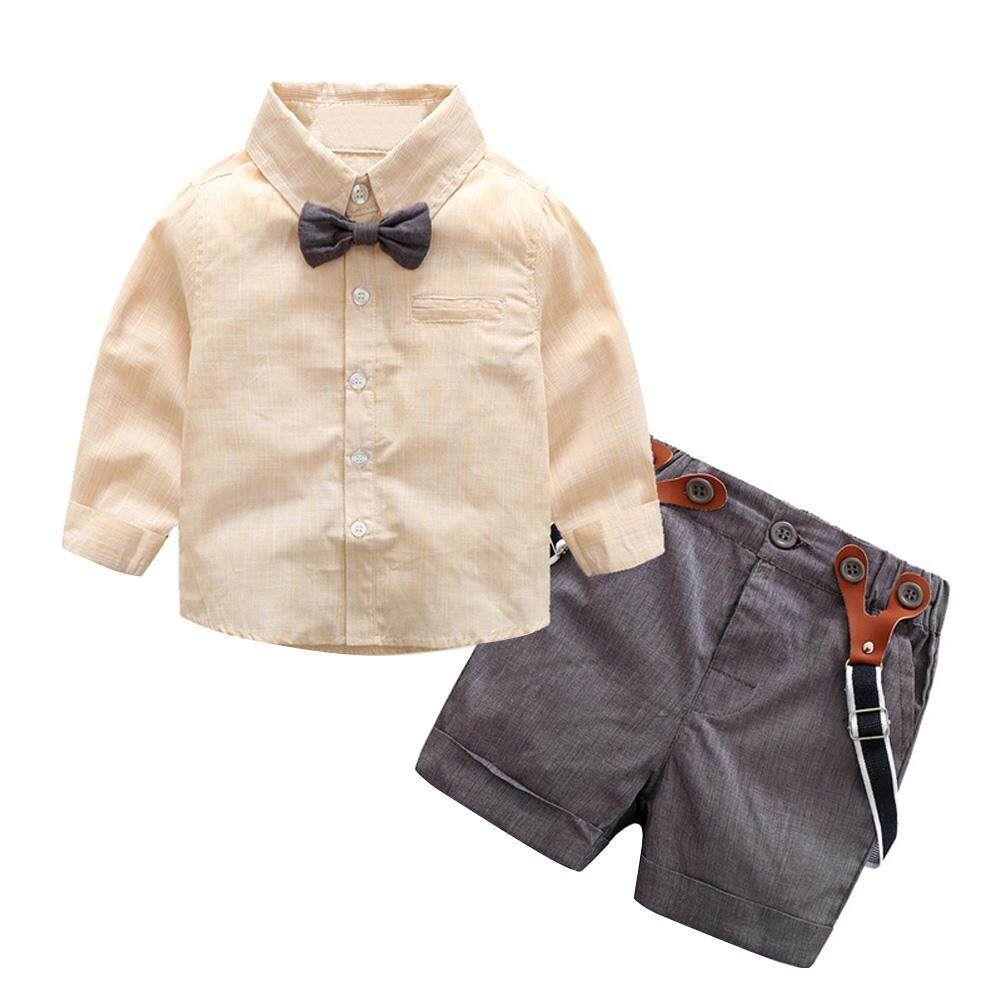 ขาย 2 ชิ้นเด็กทารกสุภาพบุรุษ Bowknot เสื้อกางเกงชุด ถูก จีน