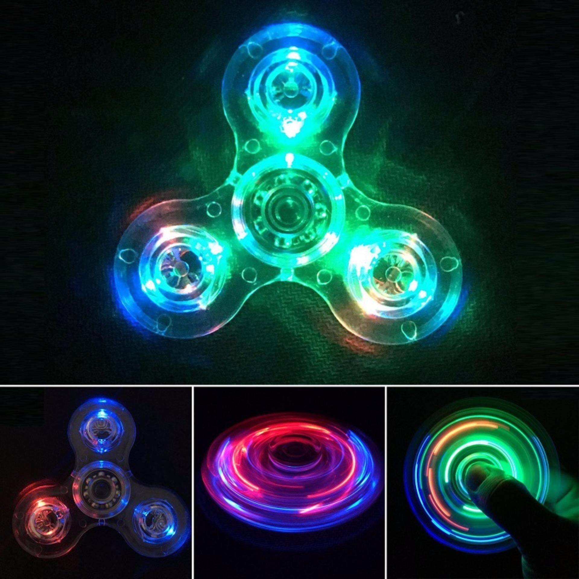 2pcs Fidget Spinner LED Transparent Switch Crystal Rainbow Spinner