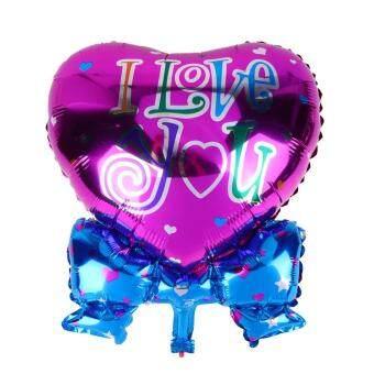 2pcs I Love You Heart Shape Bow Foil Balloon Wedding Party Supplies(Rose)