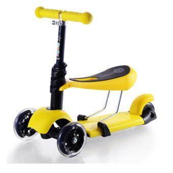 Harga 3 in 1 Height Adjustable Flash Wheels Scooter - Yellow