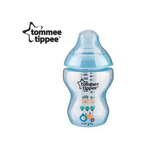 340Ml/12Oz Tommee Tippee Closer To Nature Decorated Bottle Blue (Single)