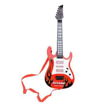 360DSC Rock Band Music Electric Guitar 4 Strings Kids Musical Instruments Educational Toy - Red Flame