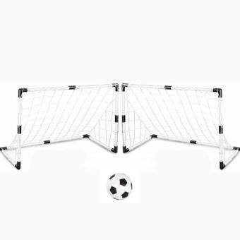 360DSC Set of 2 DIY Youth Sports Soccer Goals with Soccer Ball and Pump Practice Scrimmage