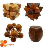 3D Wooden Puzzle - Brain Teaser Game or Relieve Pressure Game (Triangle + Space Ball + Cube + Barrel)