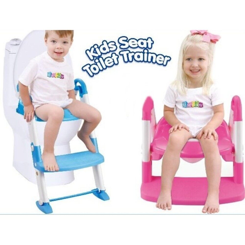 3in1 Kids Toilet Ladder Toddler Baby Training Toilet Potty Seat Non Slip Trainer - Blue