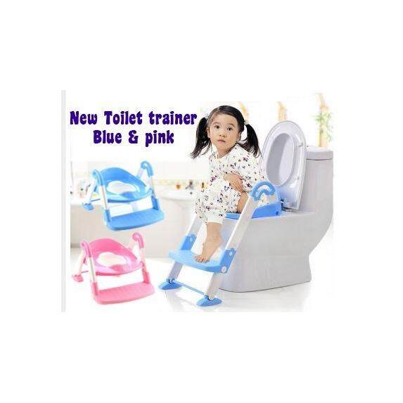 3in1 Kids Toilet Ladder Toddler Baby Training Toilet Potty Seat Non Slip Trainer (Pink)