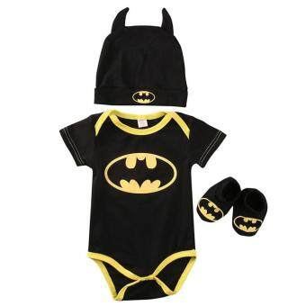 Harga 3PCS/Set New Born Baby Clothing Batman Infant Baby Clothes RomperJumpsuit+Hat+Shoes 0-24M