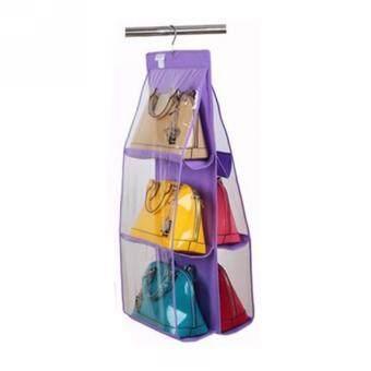 4 Color Fashion 6 Pockets Hanging Storage Bag Purse Handbag ToteBag Storage Organizer Closet Rack Hangers