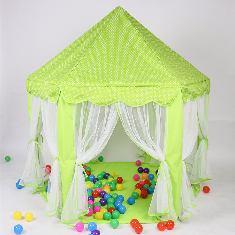 4 IN 1 Children tent large indoor game House Princess Baby House child toy wave sea pool with star shape string light LED string light Mat - intl
