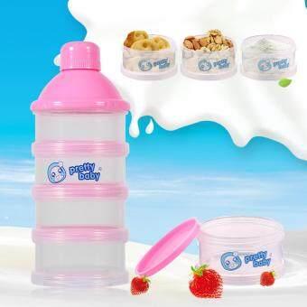 4 Layers Portable Infant Baby Milk Powder Formula Dispenser FeedingCase Box Container (Pink)