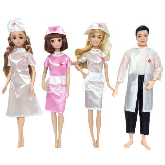 4 Set Doll Toy Nurse And Doctor Career Apparel Clothes Outfits Accessories  for Barbie Toys Children 602f0ea025