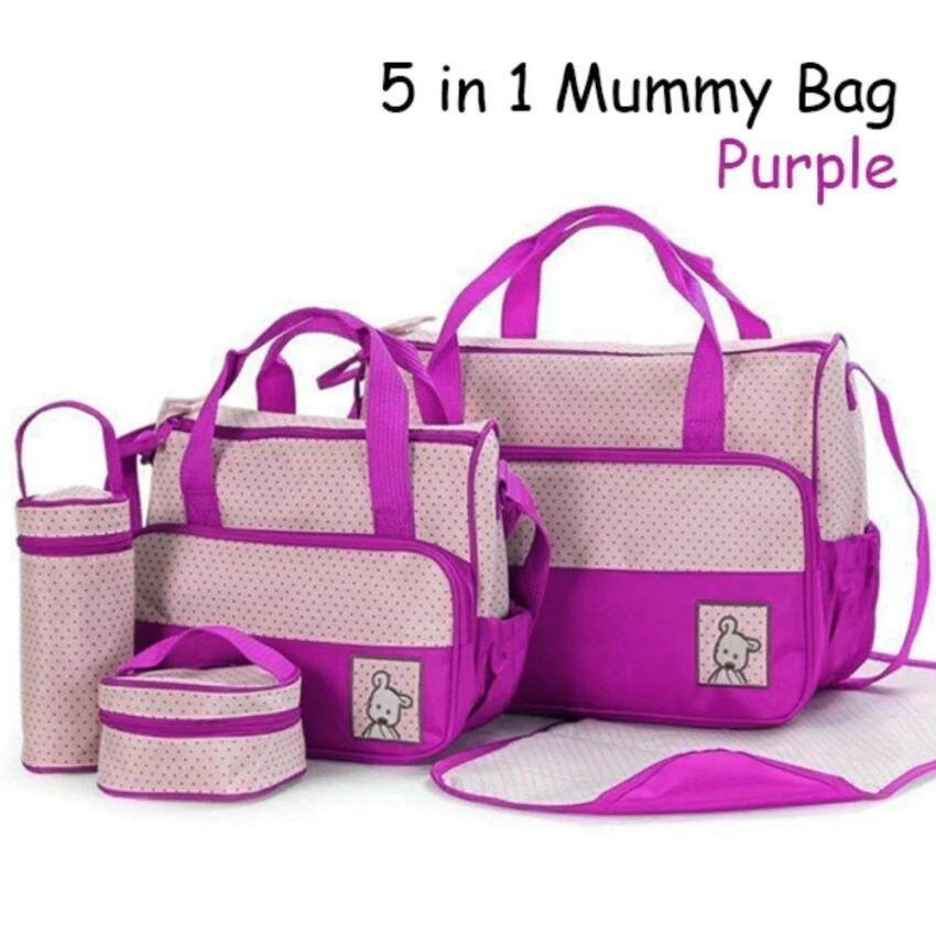 5 IN 1 Multifunctional Mother Shoulder Bag for Baby Nursery Changing Tote Mummy Bag Diaper Bags  (Purple)