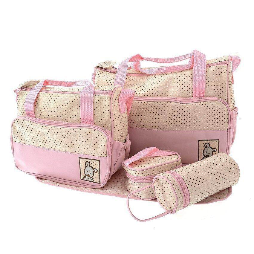 5 in 1 Mummy Diapers Bag Pink