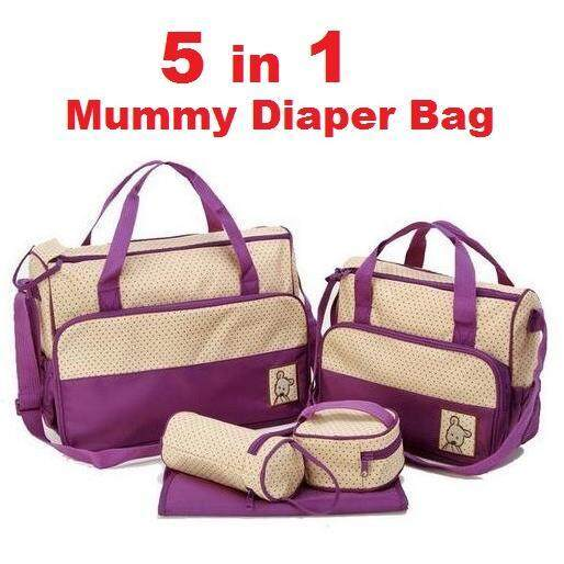 5 in 1 Mummy Diapers Bag Purple