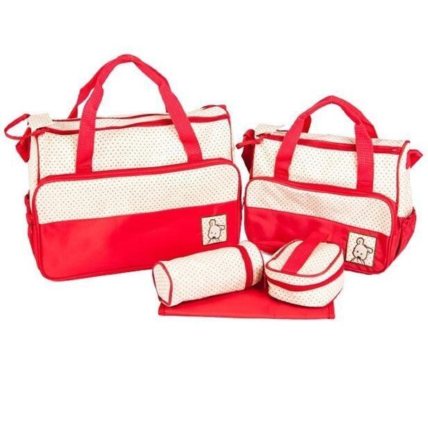 5 in 1 Mummy Diapers Bag Red