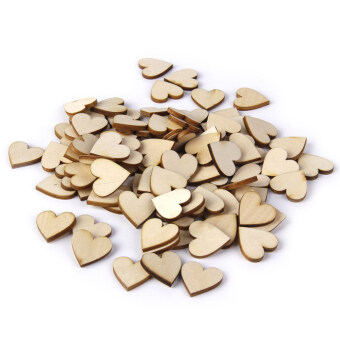 Harga 50pcs 40mm Blank Heart Wood Slices Discs for DIY Crafts Embellishments (Wood Color)