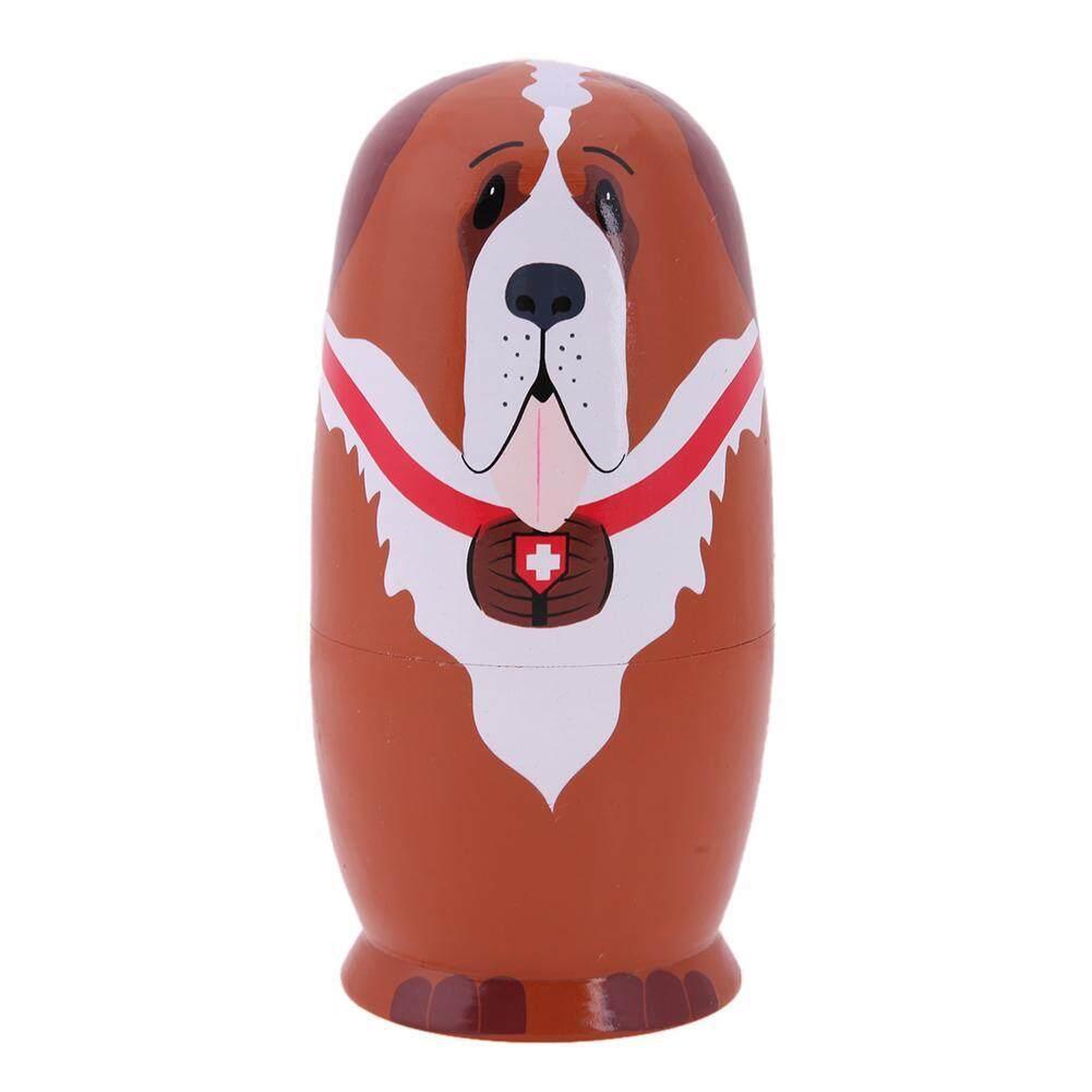 5 Pcs Basswood Jenis Anjing Matryoshka Boneka Buatan Tangan Russian Nesting Boneka Hadiah .