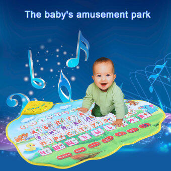 Harga 73 * 49 CM Colorful Russian Alphabet Play Mat Musical Learning MatFlash Music Carpet Blanket with Animal Sounds Touch Toy for BabyKids