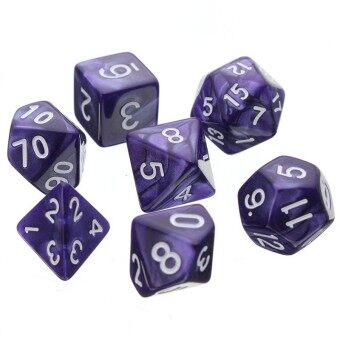 Harga 7pcs/set D4-D20 Multi Sides Dice TRPG Games Dungeons & DragonsOpaque Pop Purple