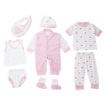 8pcs Newborn Babies Clothes Set Cotton Stripe Dot Pink