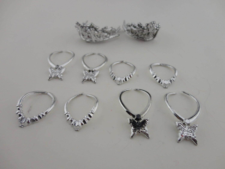 Kelompok 12 Pieces Perhiasan Di Perak Plastik 8 Kalung dan 4 Mahkota Terbuat untuk Sesuai Barbie boneka-Internasional