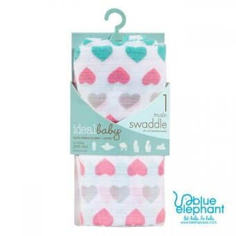 Aden Anais Ideal Baby Muslin Swaddle - Happy Heart (1-pack)