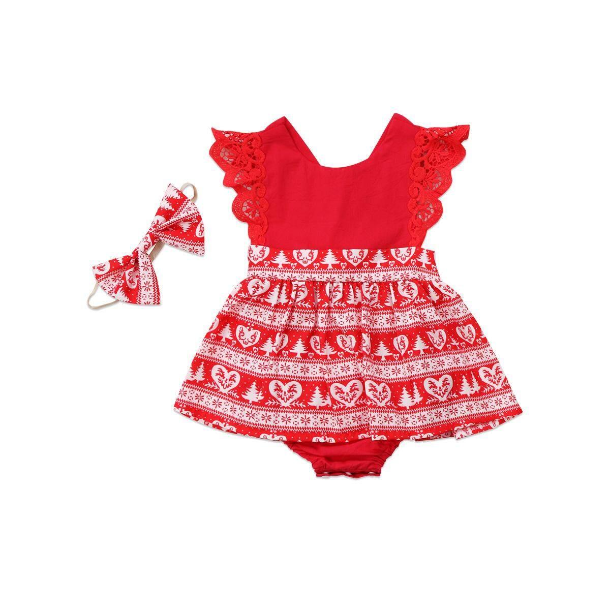 Natal Yang Menggemaskan Bayi Perempuan Balita Anak-anak Xmas Renda Baju Monyet Gaun Pesta (